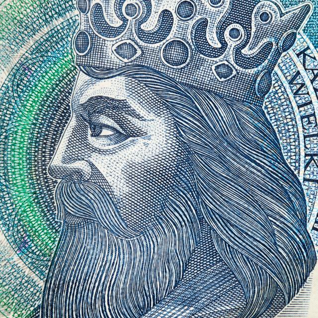 """""""Kazimierz III Wielki King of Poland - portrait from money"""" stock image"""