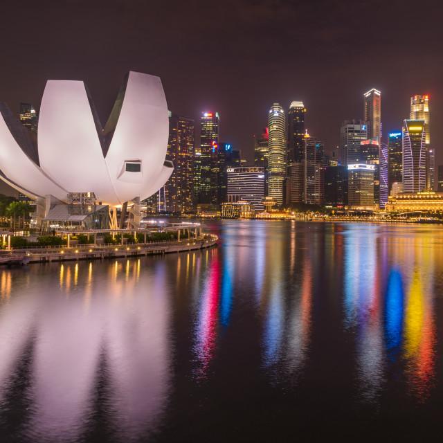 """Singapore financial district skyline"" stock image"