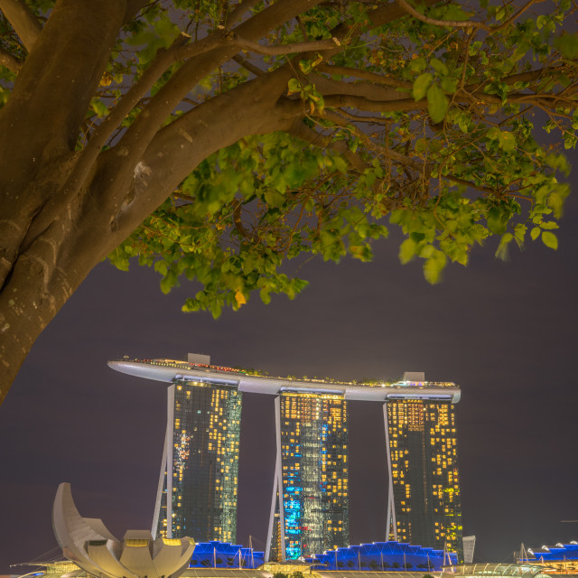 """Marina Bay Sands at night during Light and Water Show"" stock image"