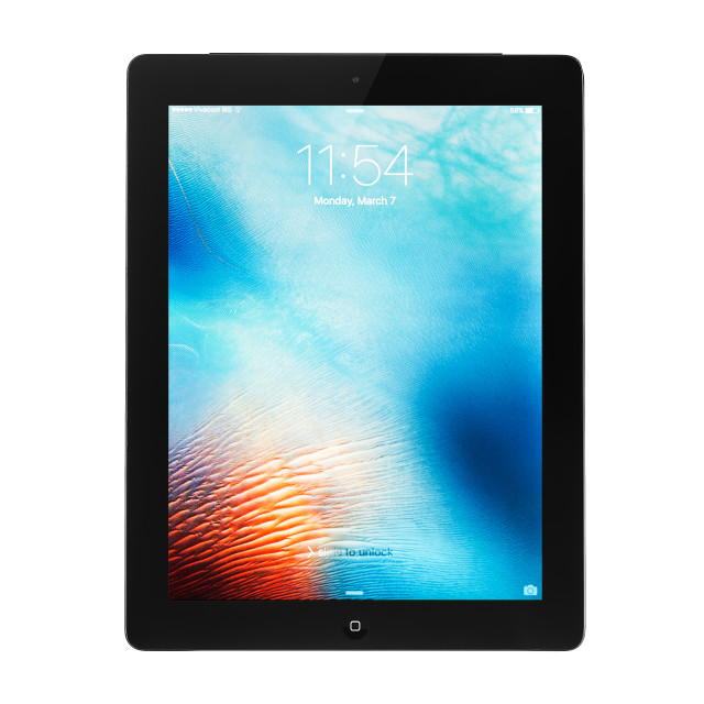 """Varna, Bulgaria - March, 08, 2016: Studio shot of a black Apple iPad 4 Wi-Fi..."" stock image"