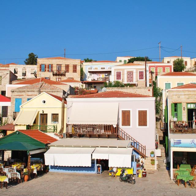"""Emborio tavernas, Halki"" stock image"
