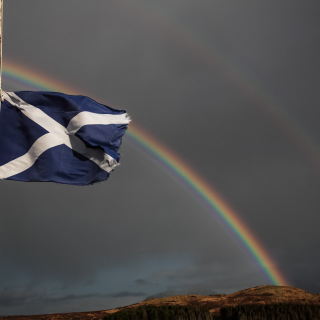 """Saltire and rainbow"" stock image"