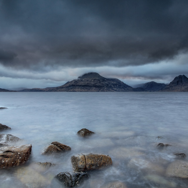 """A winter view from Elgol, Isle of Skye"" stock image"