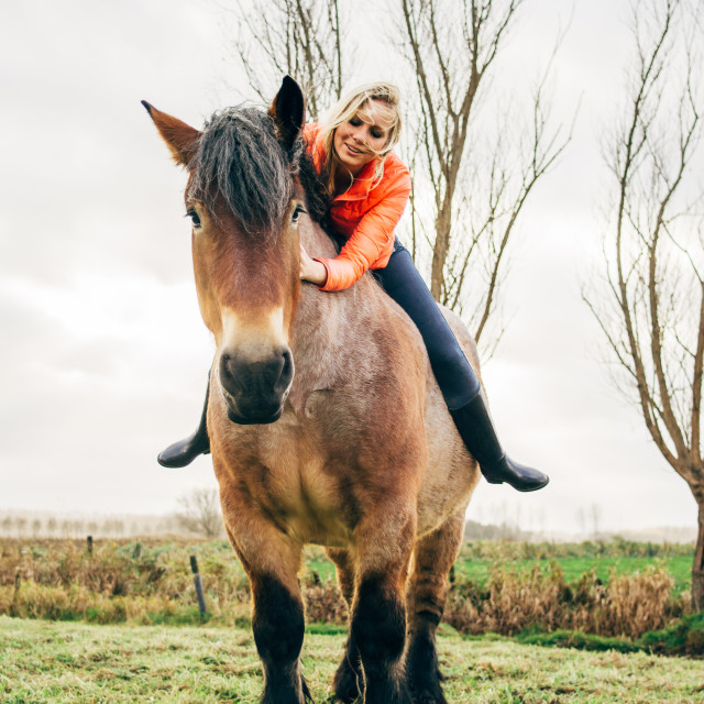 """Young Woman With Horse"" stock image"