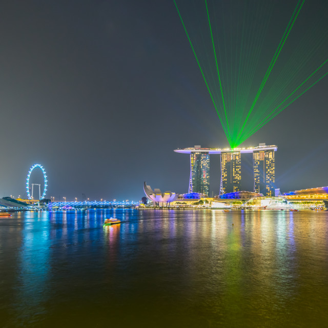 """Beautiful laser show at the marina bay waterfront in singapore"" stock image"