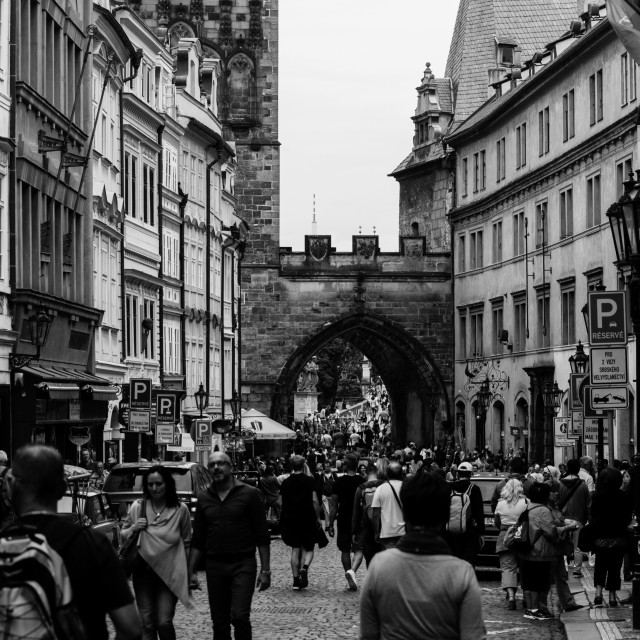 """Prague full of tourists"" stock image"