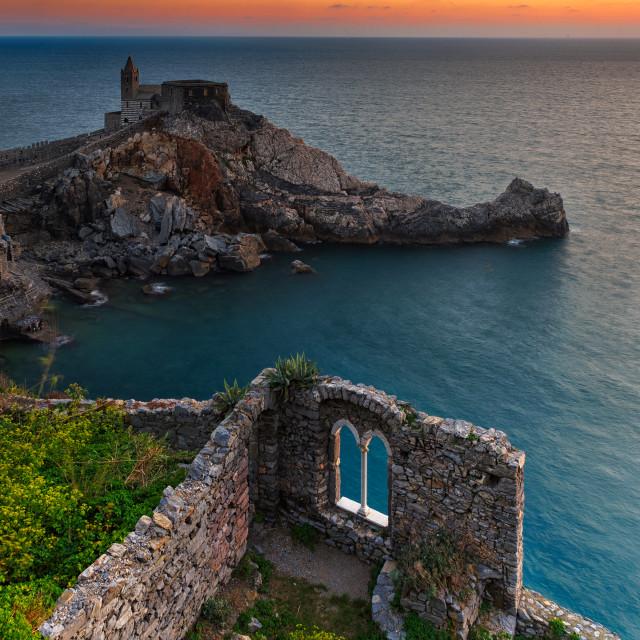 """Sunset at Portovenere"" stock image"