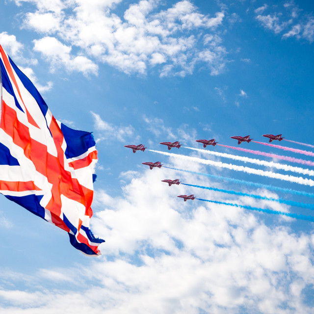 """RAF Red Arrows GB"" stock image"
