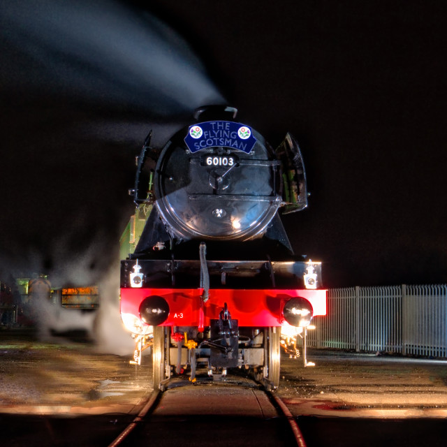 """Flying Scotsman at night"" stock image"