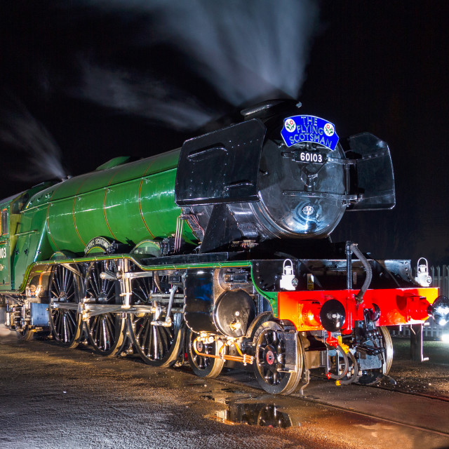 """No. 60103The Flying Scotsman at night"" stock image"