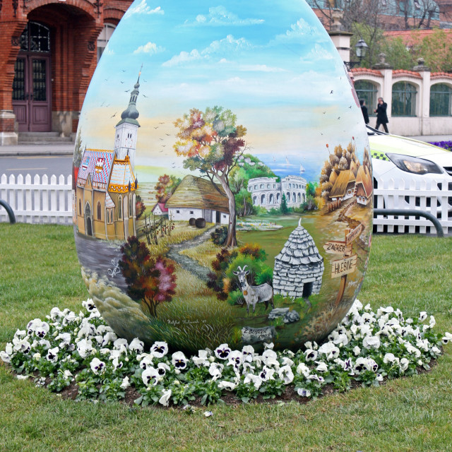 """""""Big Easter eggs in front of the Cathedral,6,Zagreb,2016."""" stock image"""