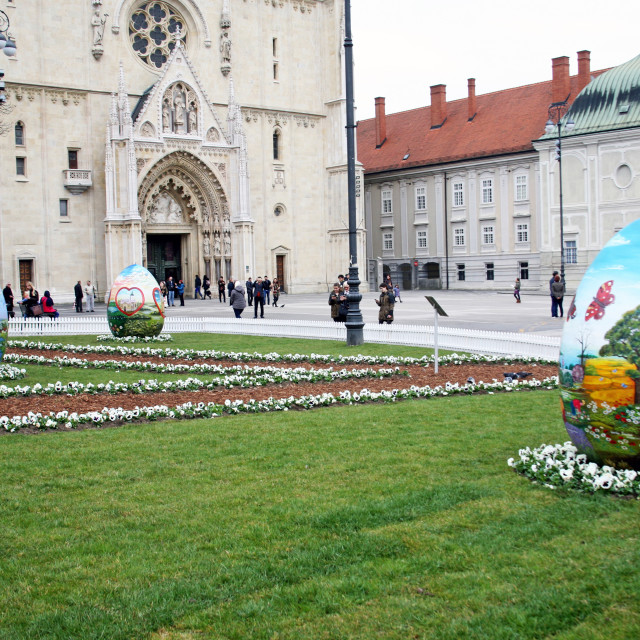 """""""Big Easter eggs in front of the Cathedral,9,Zagreb,2016."""" stock image"""
