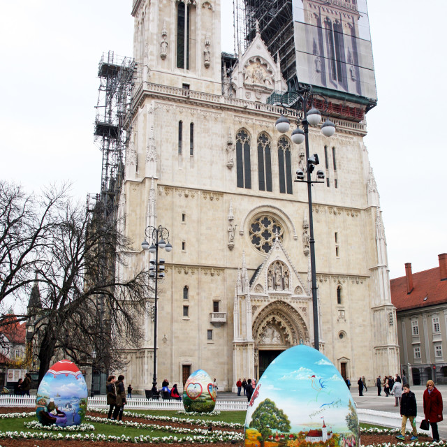 """""""Big Easter eggs in front of the Cathedral,11,Zagreb,2016."""" stock image"""