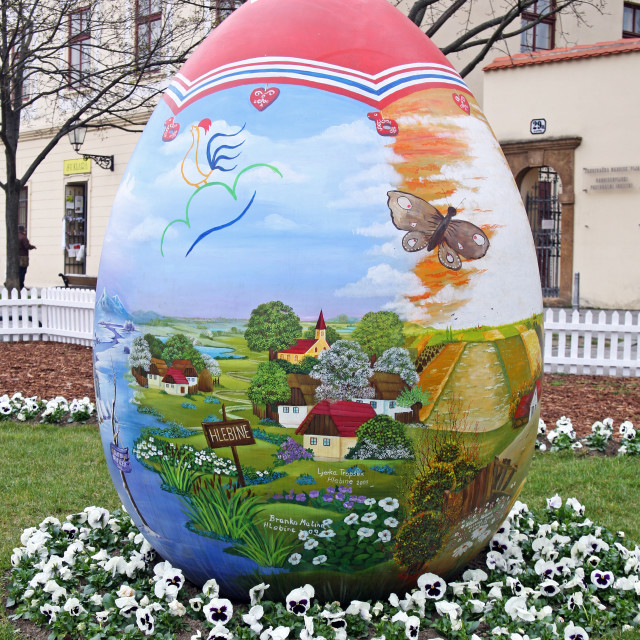 """""""Big Easter eggs in front of the Cathedral,7,Zagreb,2016."""" stock image"""