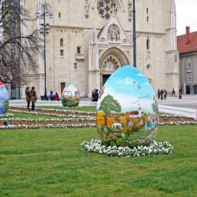 """""""Big Easter eggs in front of the Cathedral,10,Zagreb,2016."""" stock image"""