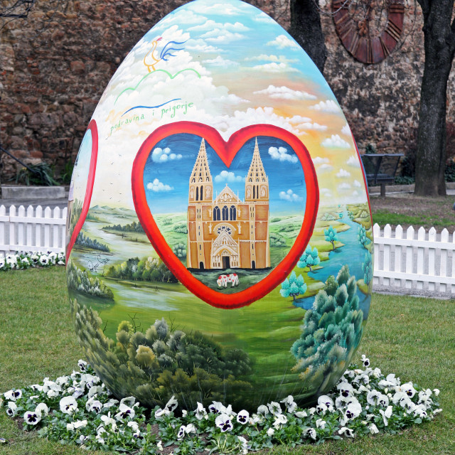 """""""Big Easter eggs in front of the Cathedral,8,Zagreb,2016."""" stock image"""