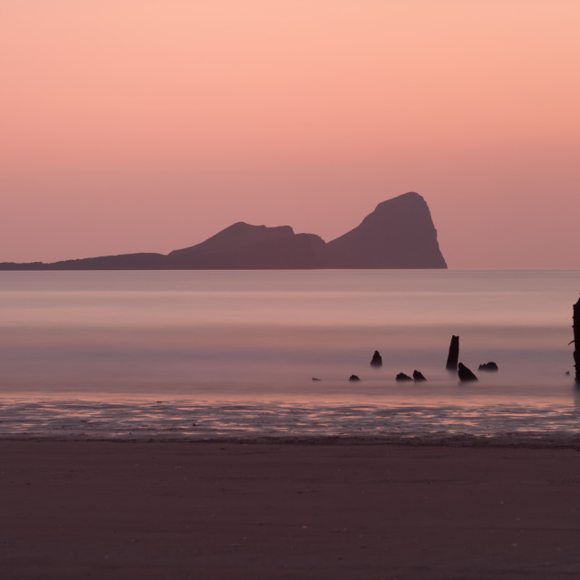 """Sunset at Rhossili Bay South Wales"" stock image"