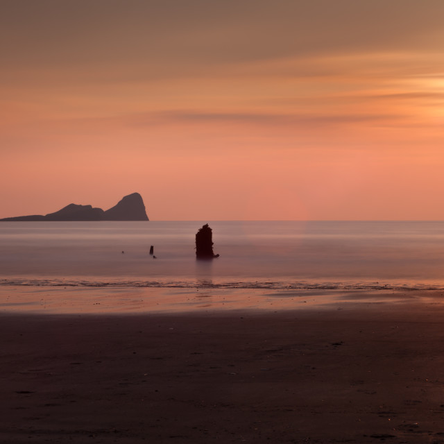 """Pastel Sunset at Rhossili Bay"" stock image"