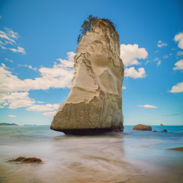 """The 'Te Hoho' rock from the Cathedral Cove Coromandel New Zealand"" stock image"
