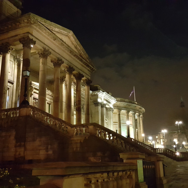 """Walker Art Gallery, Liverpool, at night"" stock image"