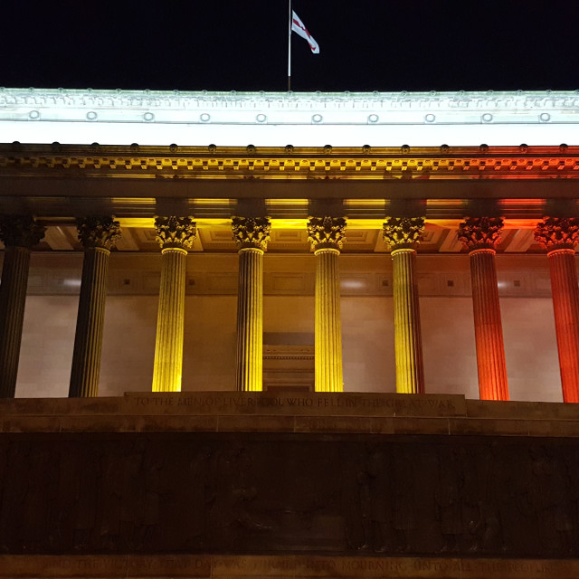 """St Georges Hall, Liverpool, in honour of Brussels"" stock image"