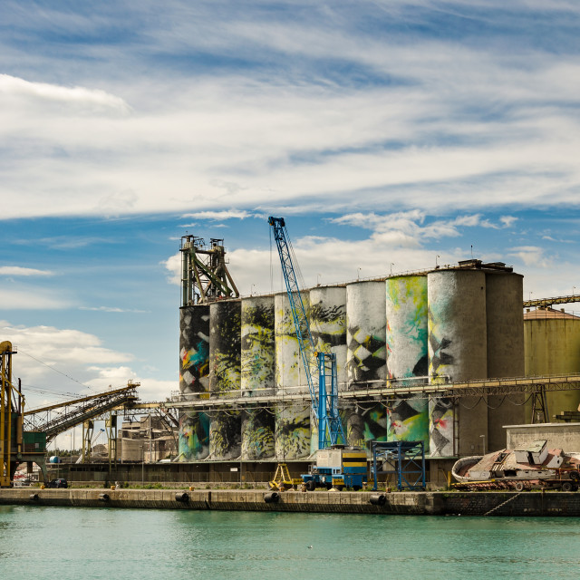 """Grain Silos at Port Catania"" stock image"