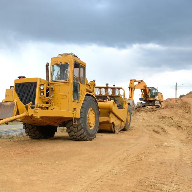 """Bulldozer and Excavator"" stock image"