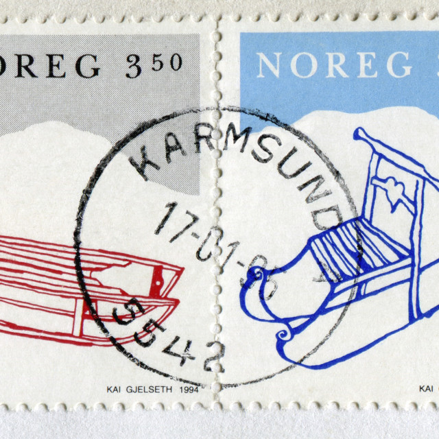 """Norway Stamps, Winter"" stock image"