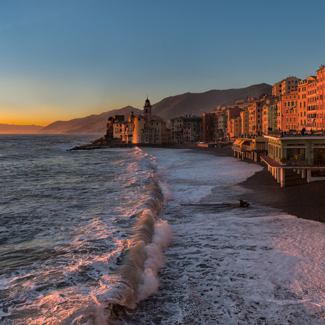"""""""The golden hour in Camogli"""" stock image"""