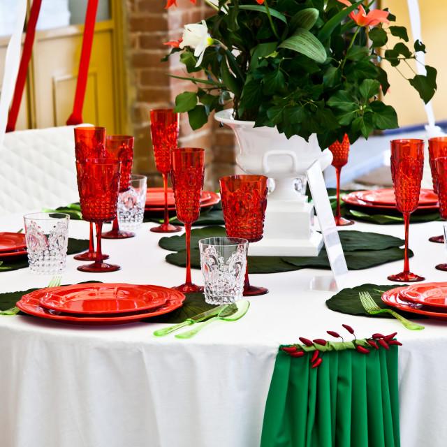 """Dinner table setup - Italian Style"" stock image"