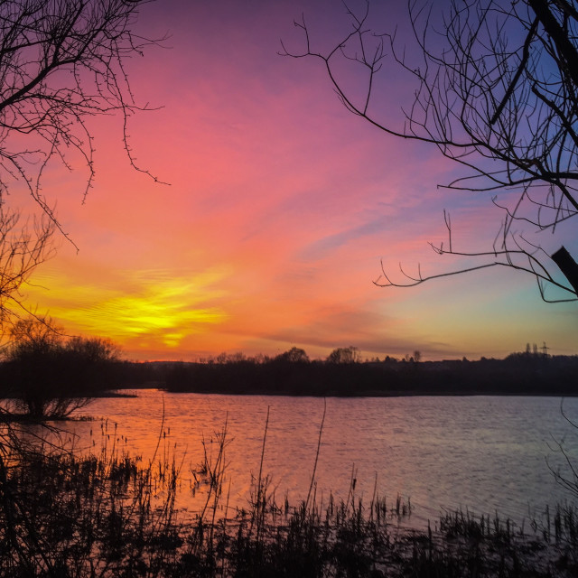 """Irthlingborough lakes sunset"" stock image"