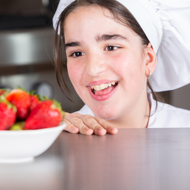 """""""Teen girl in the kitchen"""" stock image"""