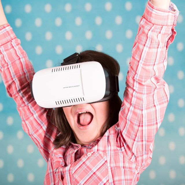 """Girl with virtual reality glasses"" stock image"