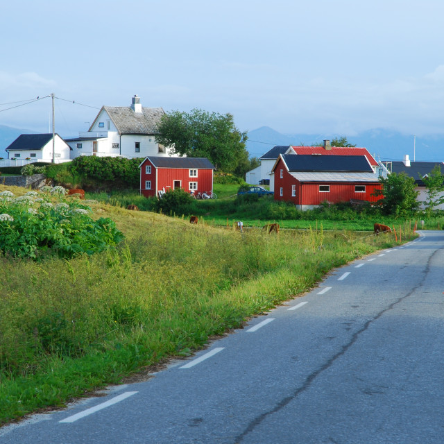 """""""Small island society in Northern Norway"""" stock image"""