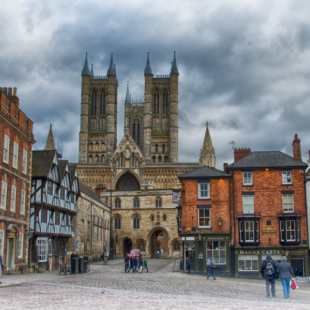 """Lincoln Cathedral and Castle Square"" stock image"
