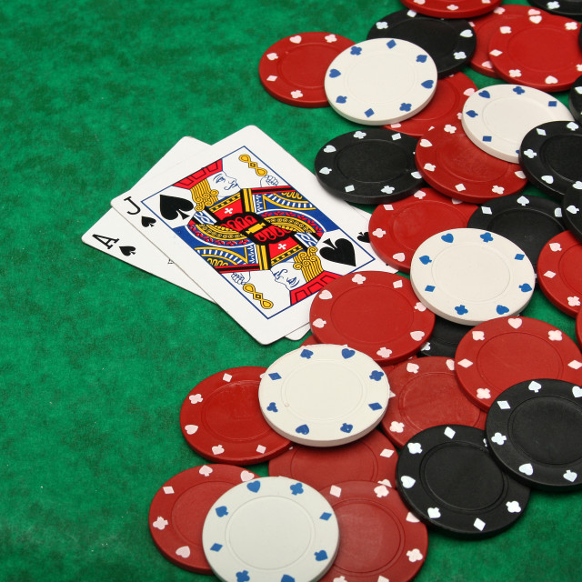 """Blackjack with gambling chips"" stock image"