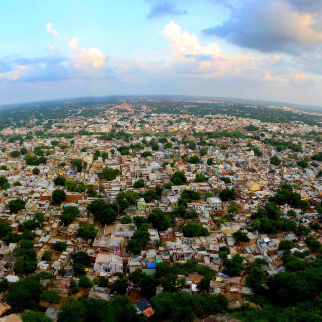 """""""PANORAMIC VIEW OF GWALIOR CITY, MADHYA PRADESH, INDIA"""" stock image"""