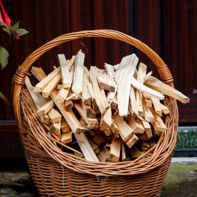 """Basket of kindlings"" stock image"