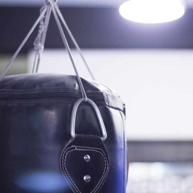 """""""Punch kick bag in boxing gym"""" stock image"""