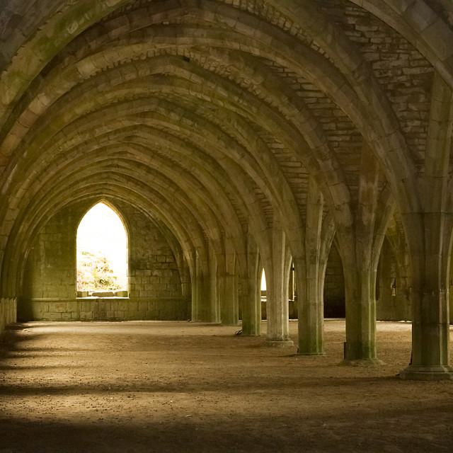 """Fountains Abbey, Nth. Yorkshire"" stock image"