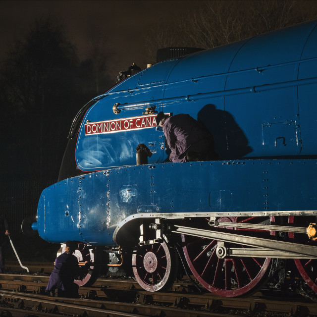 """Night work at a steam shed"" stock image"