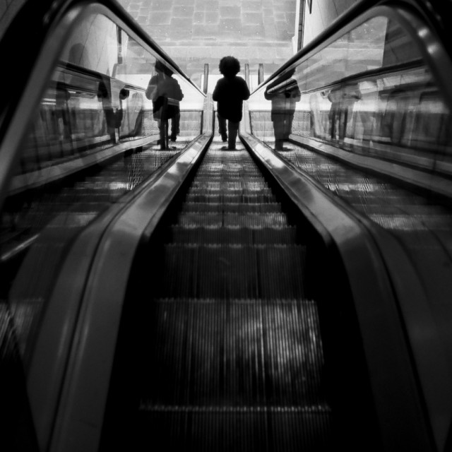 """escalator reflections"" stock image"