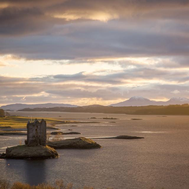 """Sunset on Castle Stalker"" stock image"