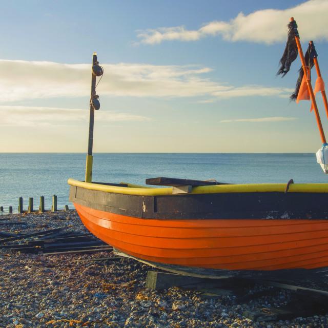 """""""Little Fishing Boat Worthing"""" stock image"""