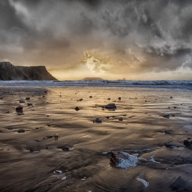"""Thunder at Rhossili Bay"" stock image"