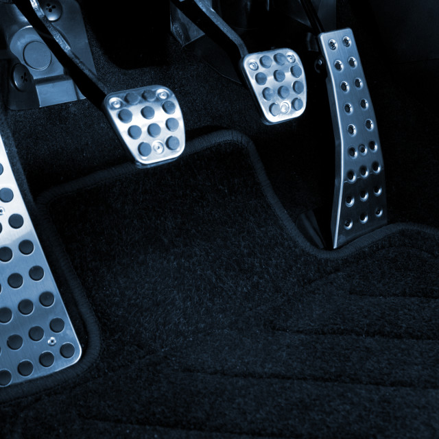 """""""Sport car chrome pedals (toned in blue)"""" stock image"""