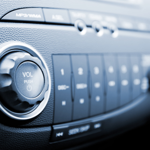 """Modern car audio system (shallow DoF)"" stock image"
