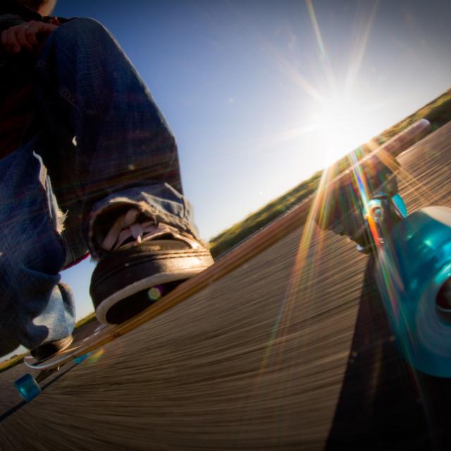 """""""Sunrise Longboarding"""" stock image"""