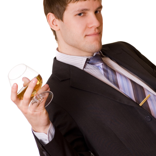"""Business man with a cognac glass"" stock image"
