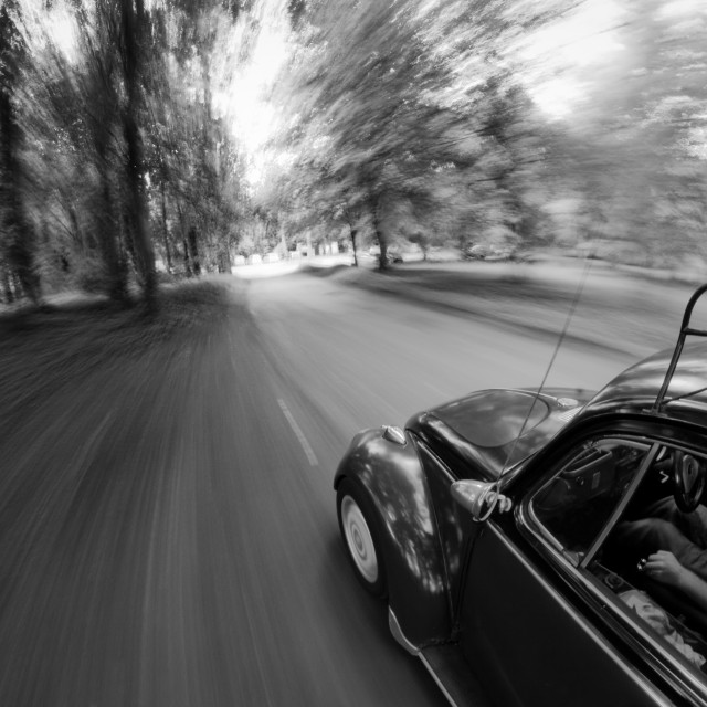 """Cruising in a classic VW Beetle"" stock image"